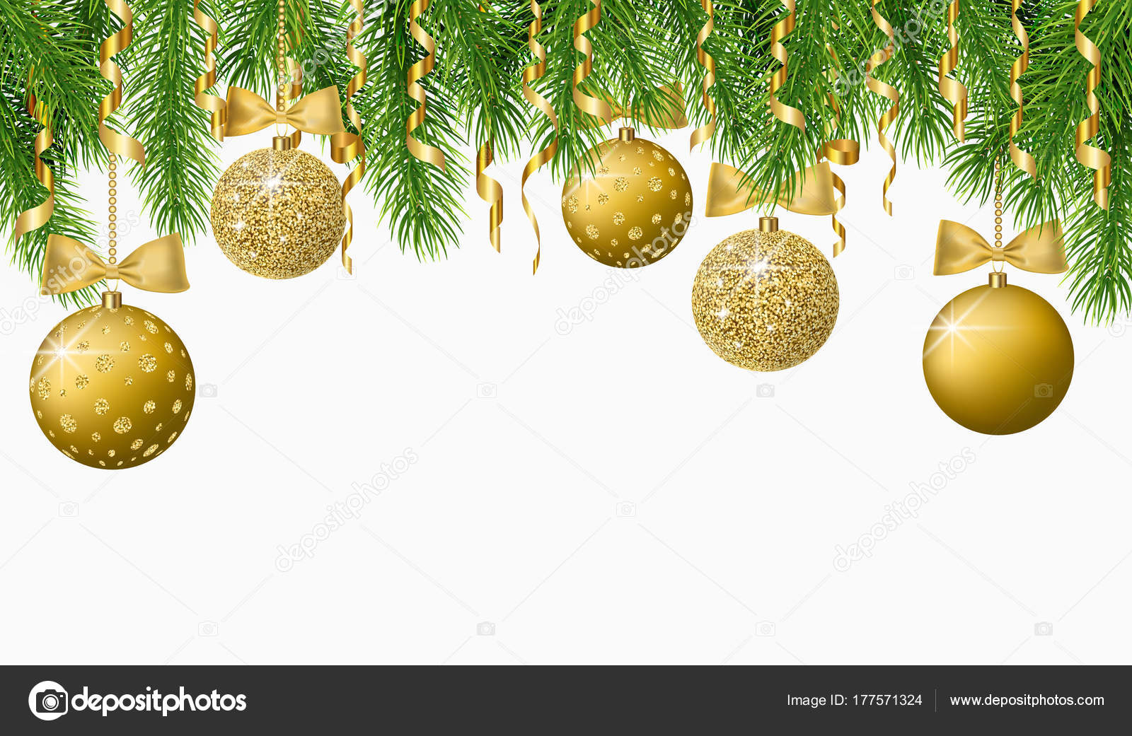 Christmas background with fir tree branches, confetti and shiny gold ...