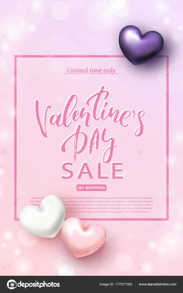 Valentines Day Sale Banner Beautiful Background With Realistic