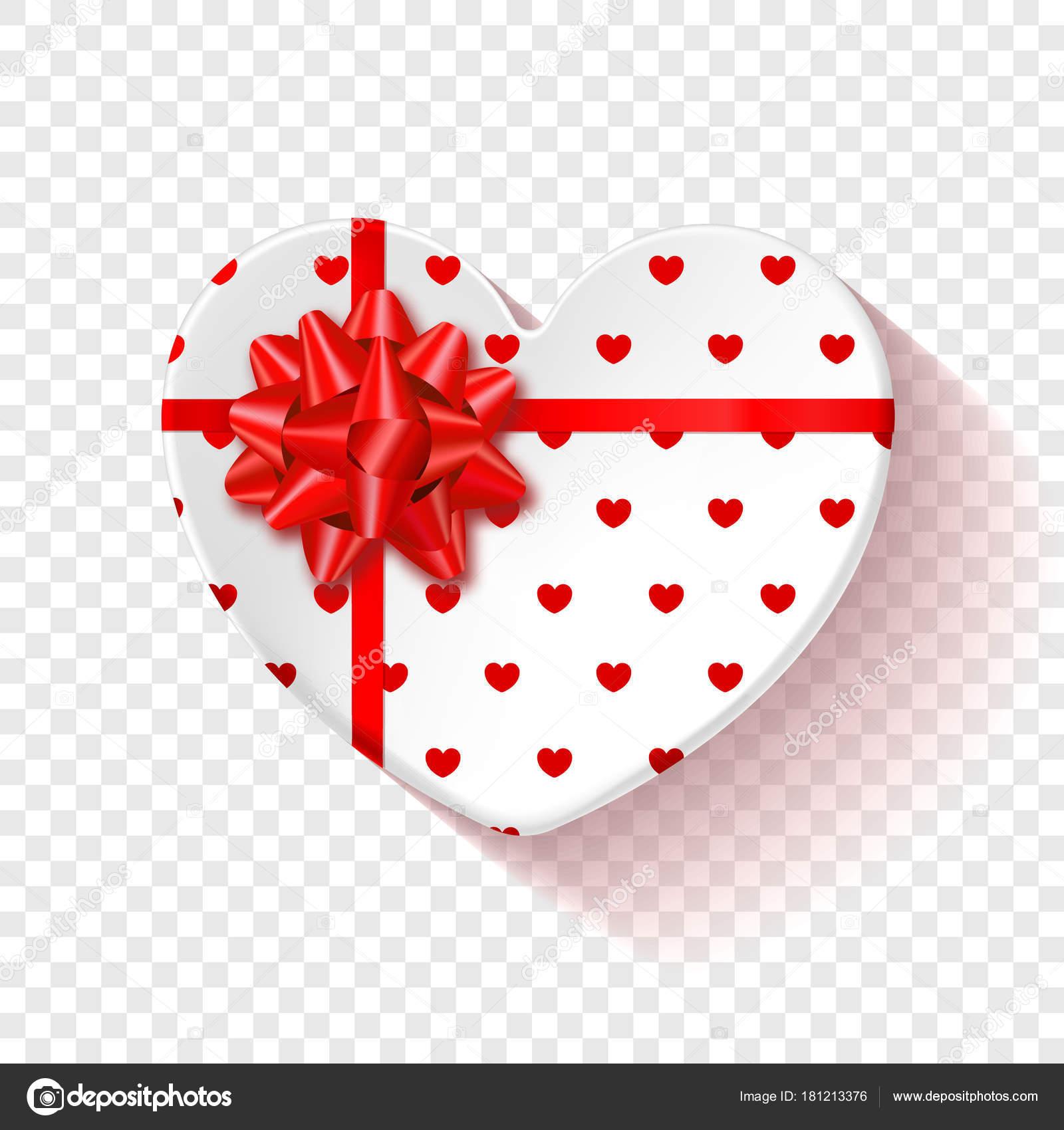 Weißen Geschenkbox für den Valentinstag. Herz-Box mit rotem Muster ...