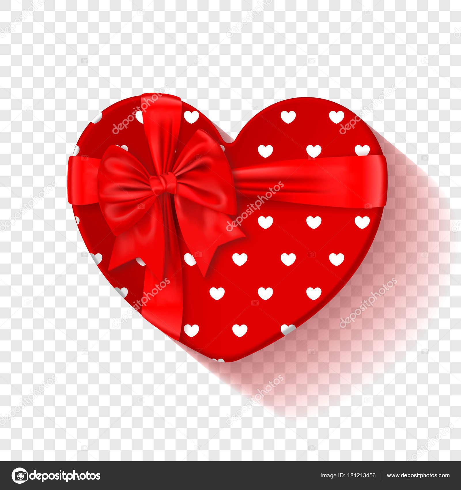Roten Geschenk-Box für den Valentinstag. Herz-Box mit rotem Muster ...