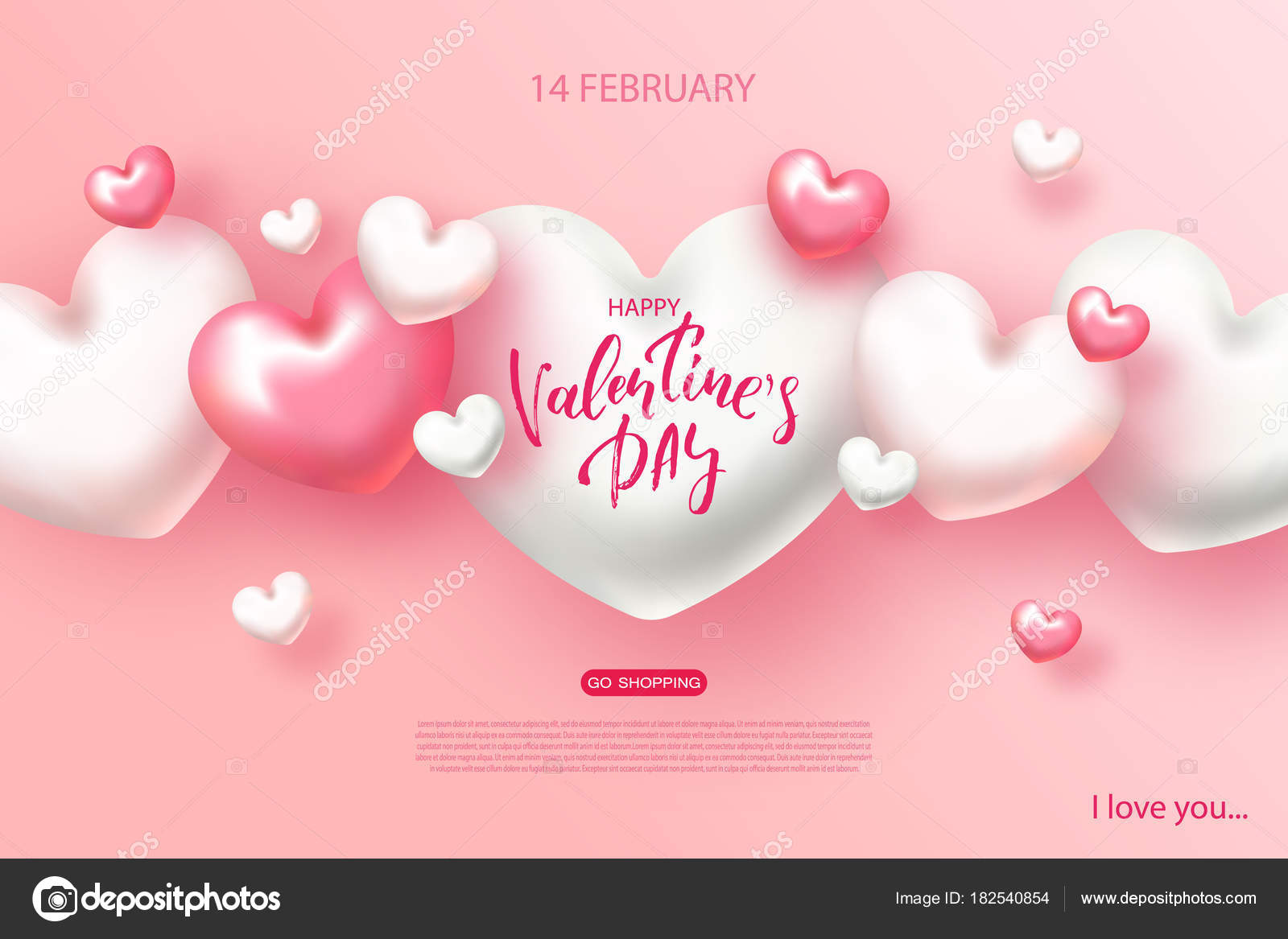 Happy Valentines Day Banner Beautiful Background With Hearts