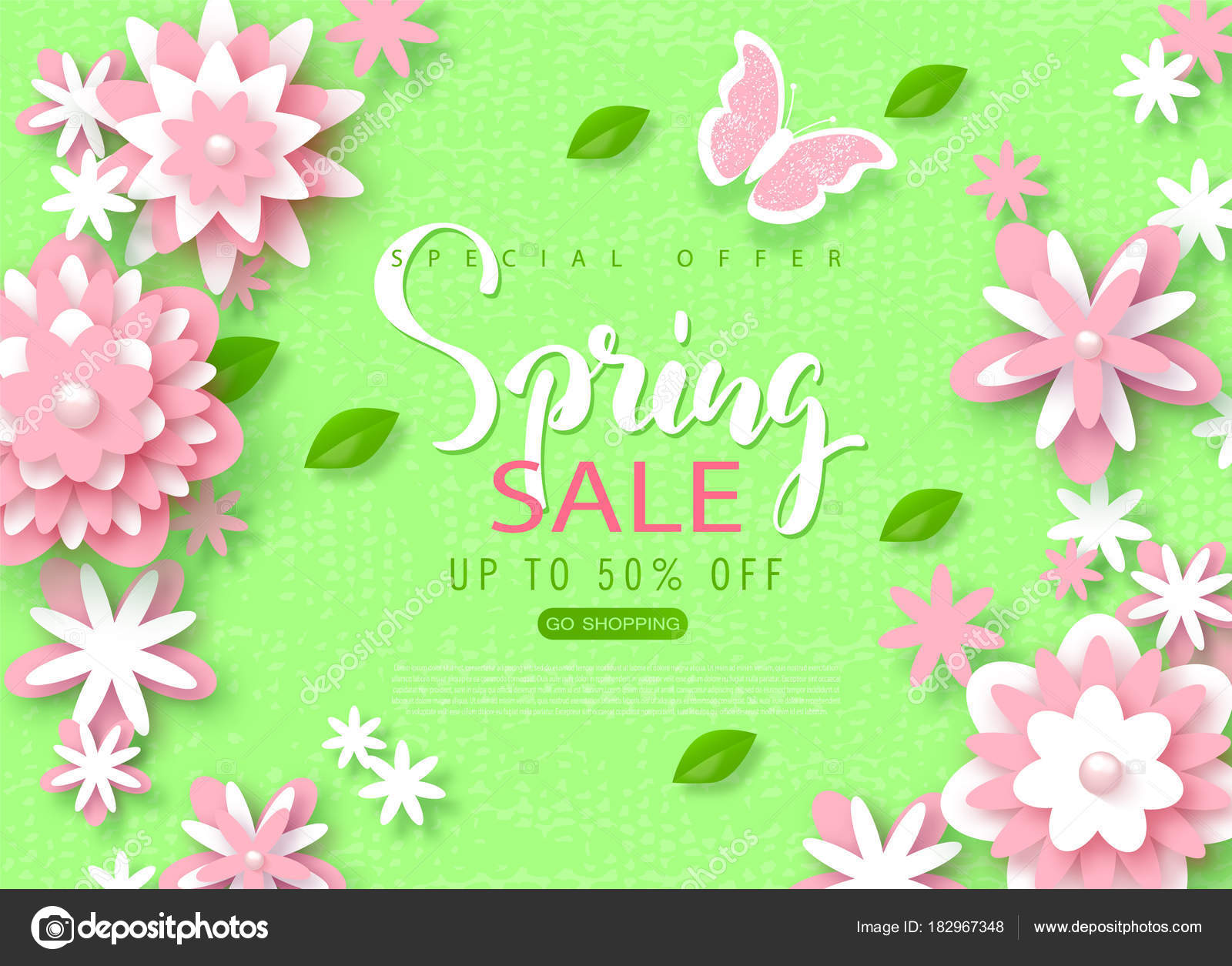 Spring Sale Banner Beautiful Background With Paper Flowers Vector