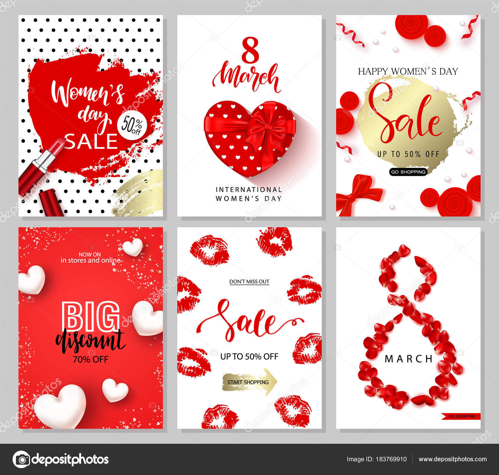 8 March Happy Women s Day Set of sale banners Vector