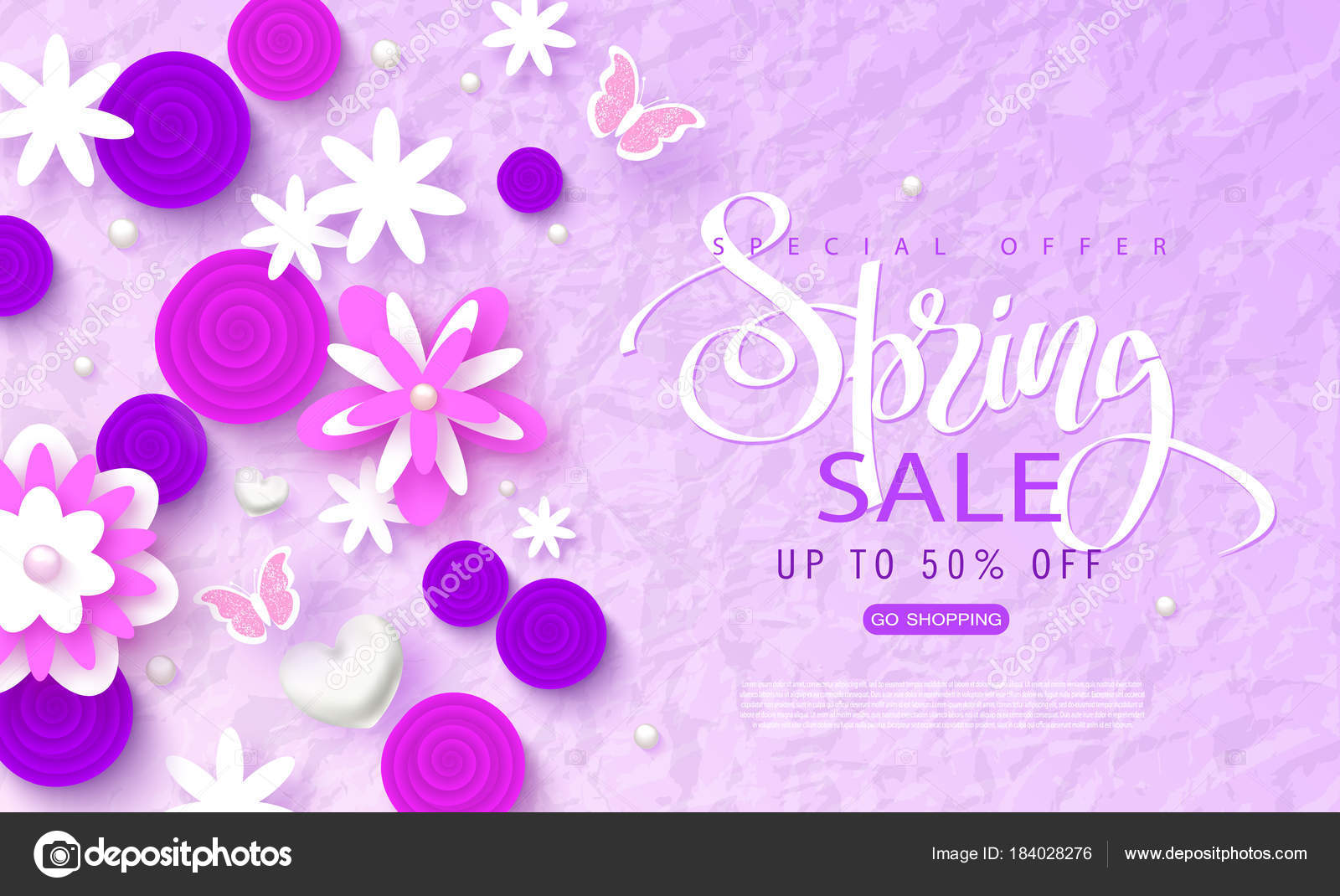 Spring Sale Banner Beautiful Background With Paper Flowers And