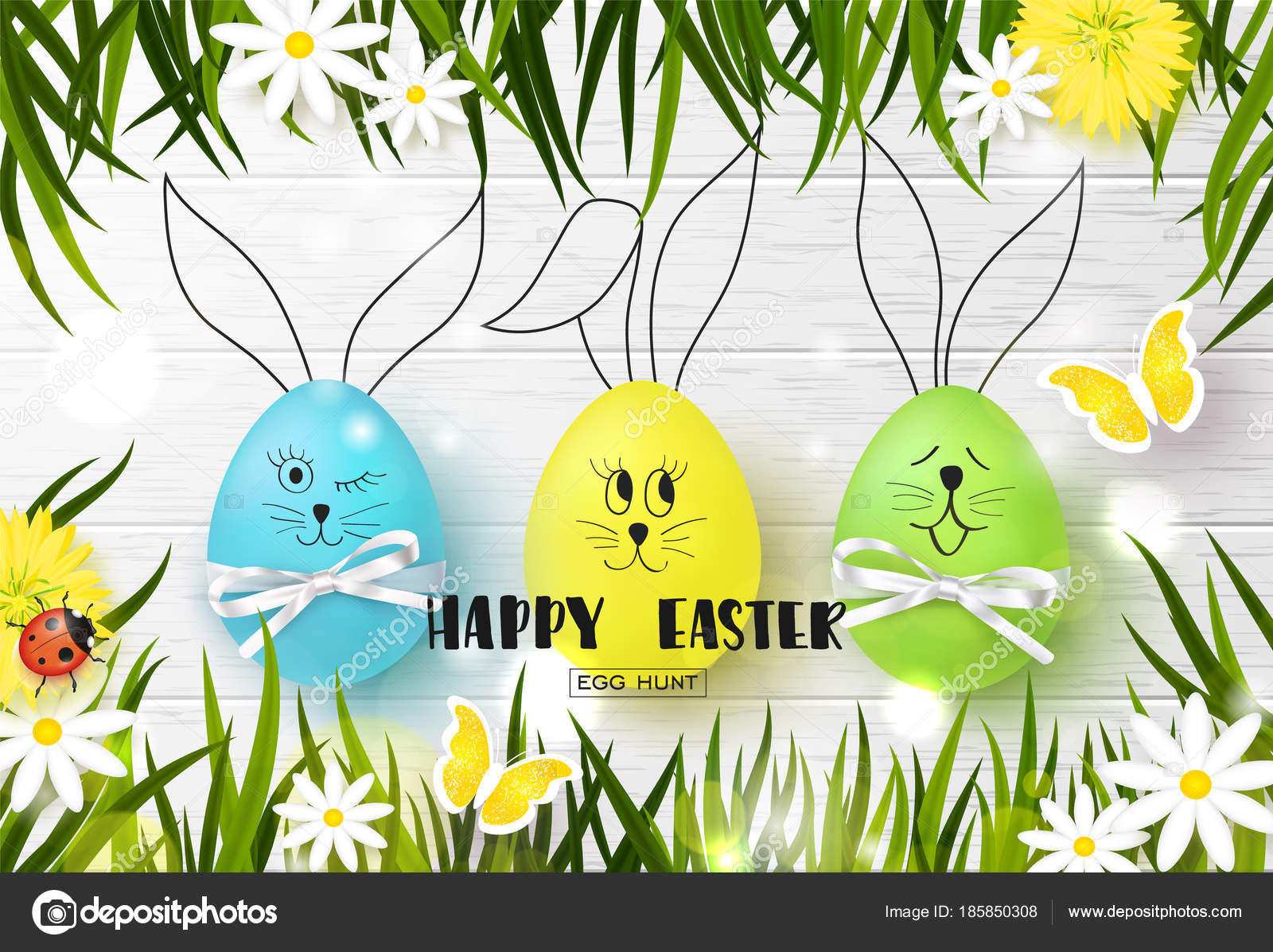 Happy easter background with funny colorful eggs grass flowers happy easter background with funny colorful eggs grass flowers ladybug and butterfly on wooden texture egg hunt vector illustration stopboris Images