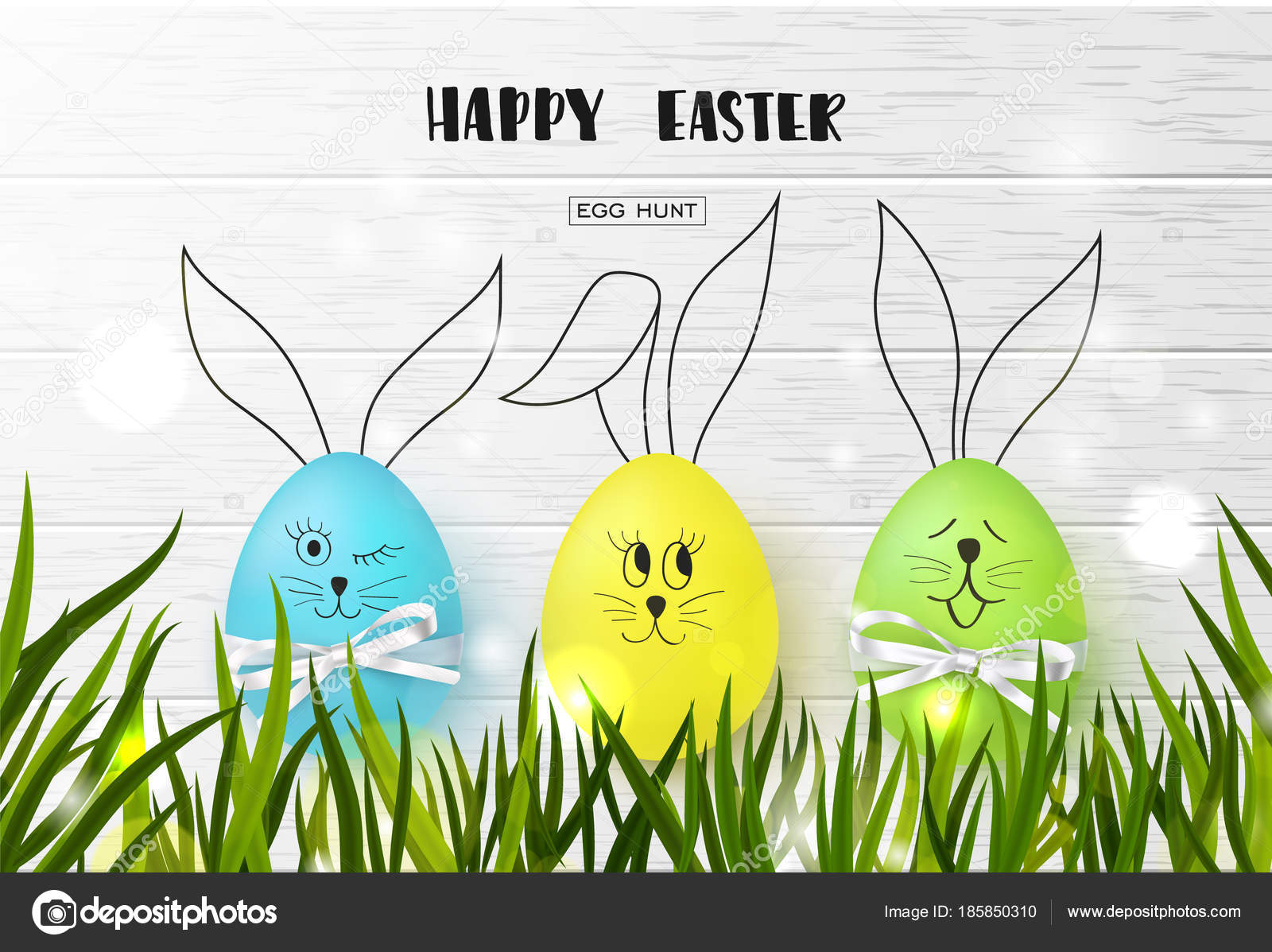 happy easter background with funny colorful eggs and grass on wooden texture egg hunt