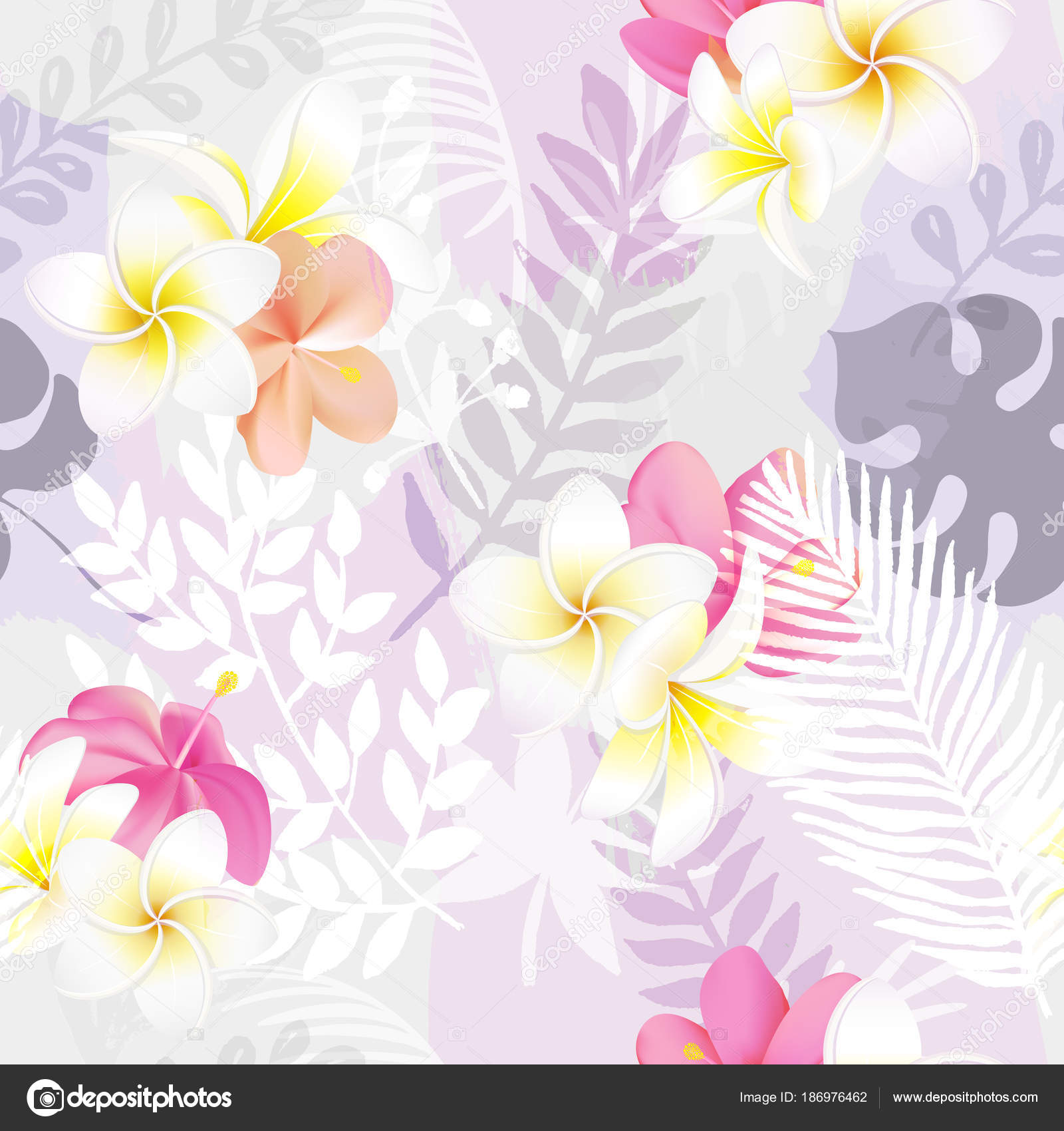 Trendy Seamless Exotic Pattern With Tropical Plants And Flowers