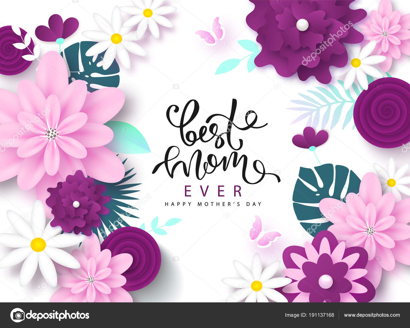 Happy Mothers Day Greeting Card Design With Beautiful Blossom