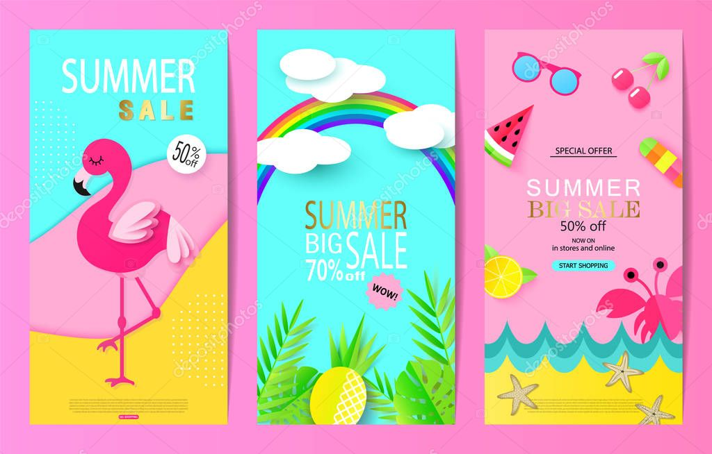 Set of summer sale banner templates with paper elements. Vector illustrations for website and mobile website banners, posters, email and newsletter designs, ads, coupons, promotional material.
