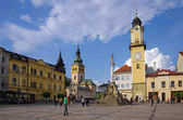Town square  with Clock Tower and medieval castle in Banska Bystrica.