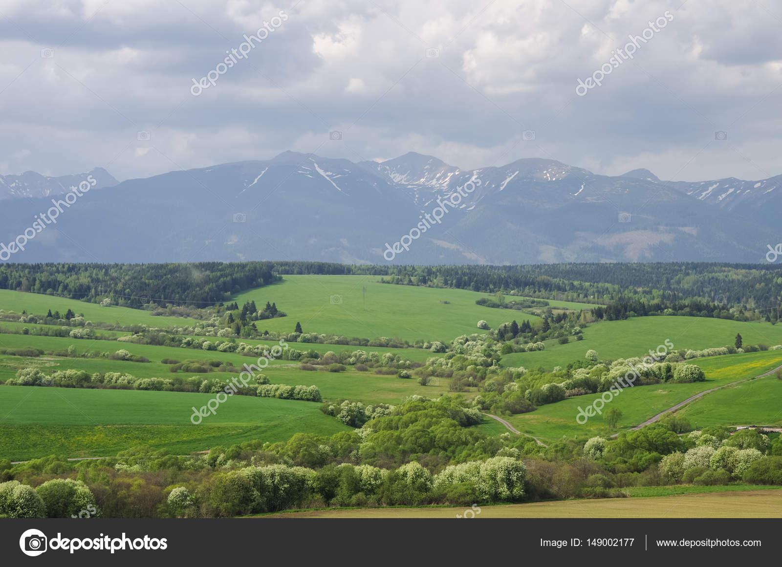 Meadows and High Tatras peaks panorama on background  Presov