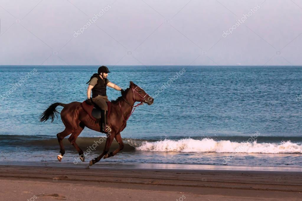 Riders on horseback rides on the beach. sunset. seascape