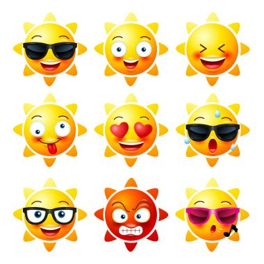 Sun, Smiley face icons or yellow emoticons with emotional funny