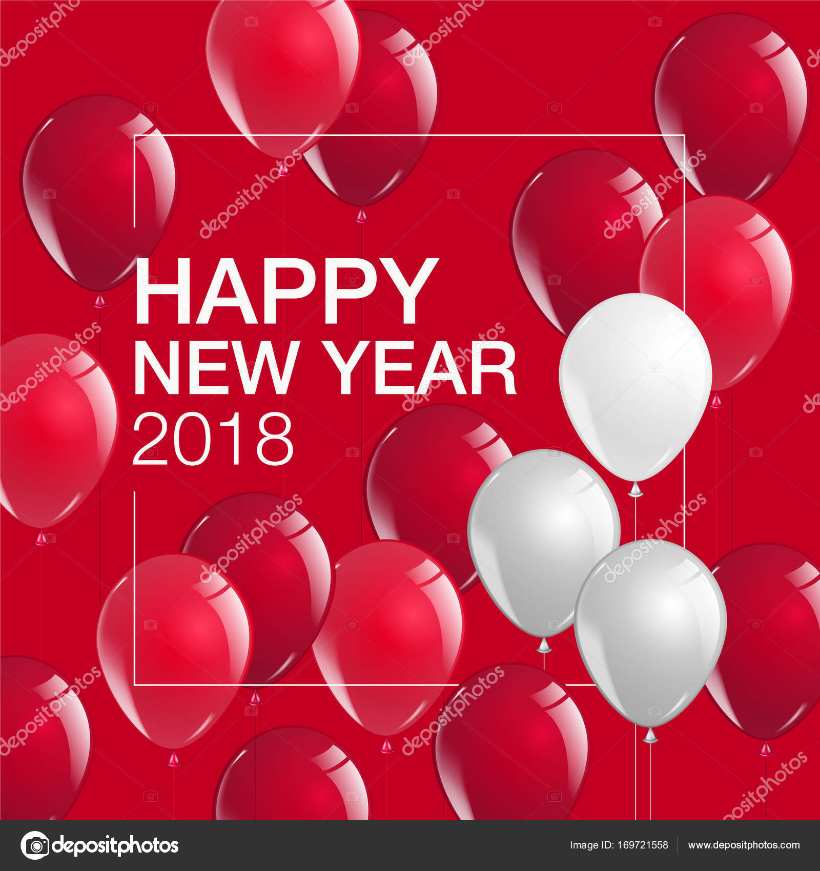 happy new year 2018 celebrate balloons template layout vecto