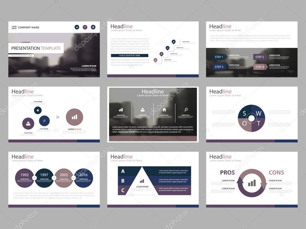 Purple Abstract presentation templates, Infographic elements ...
