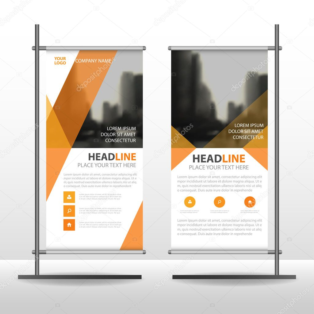 Orange Triangle Business Roll Up Banner Flat Design Template