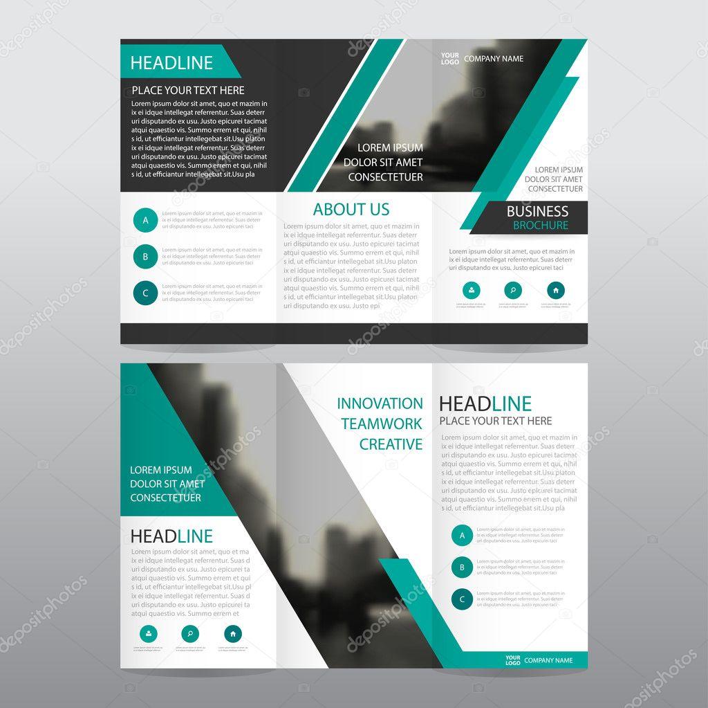 Negocio abstracto verde triple folleto folleto folleto Informe ...