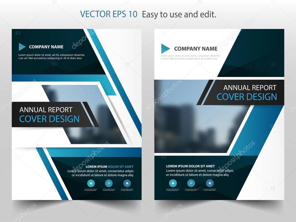Azul negro Resumen anual Informe folleto diseño plantilla vector ...