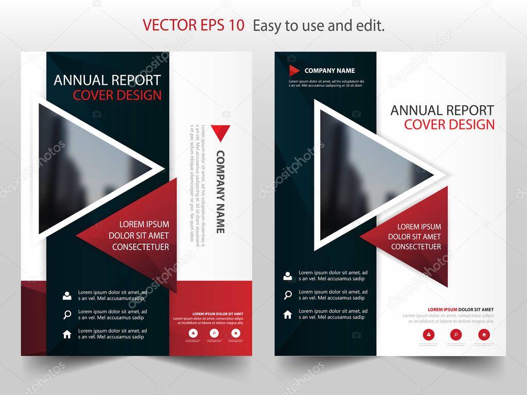 Red Black Triangle Annual Report Brochure Design Template Vector