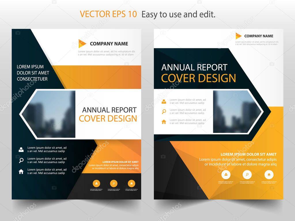 Orange black annual report Brochure design template vector