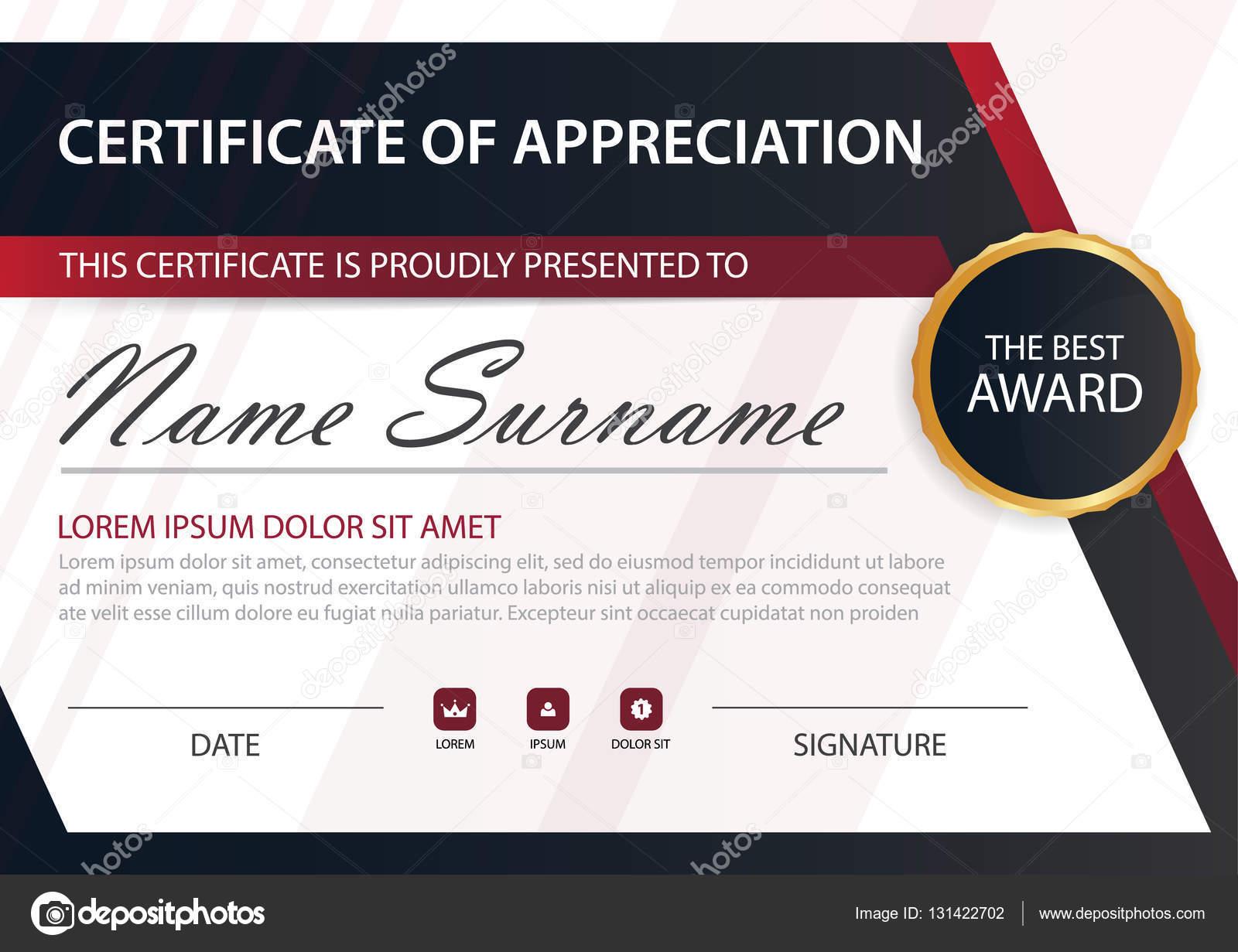 Rote Linie Eleganz horizontale Zertifikat mit Vektor Illustration ...