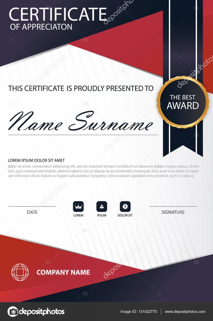 Red Line Elegance Vertical Certificate With Vector Illustration