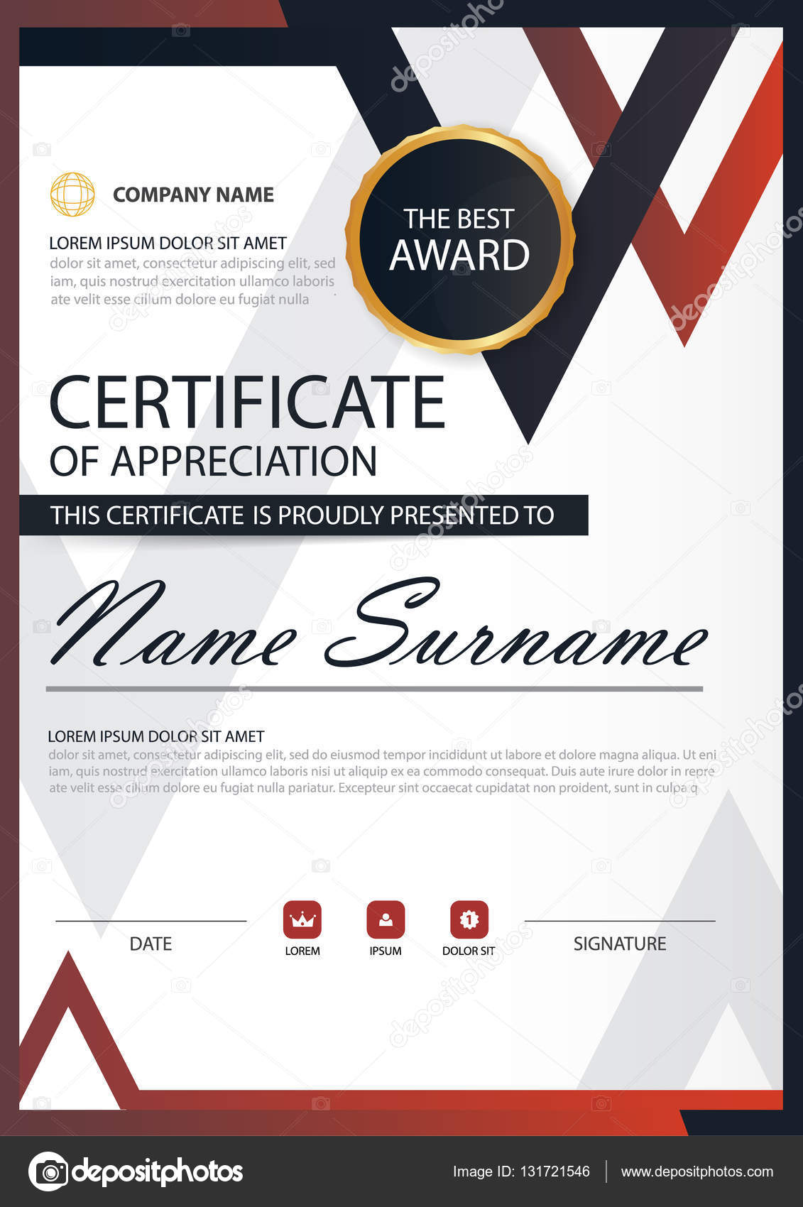 Red Black Elegance Vertical Certificate With Vector Illustration