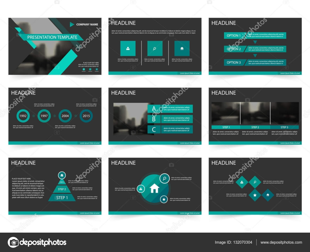 Green black Abstract presentation templates, Infographic elements ...