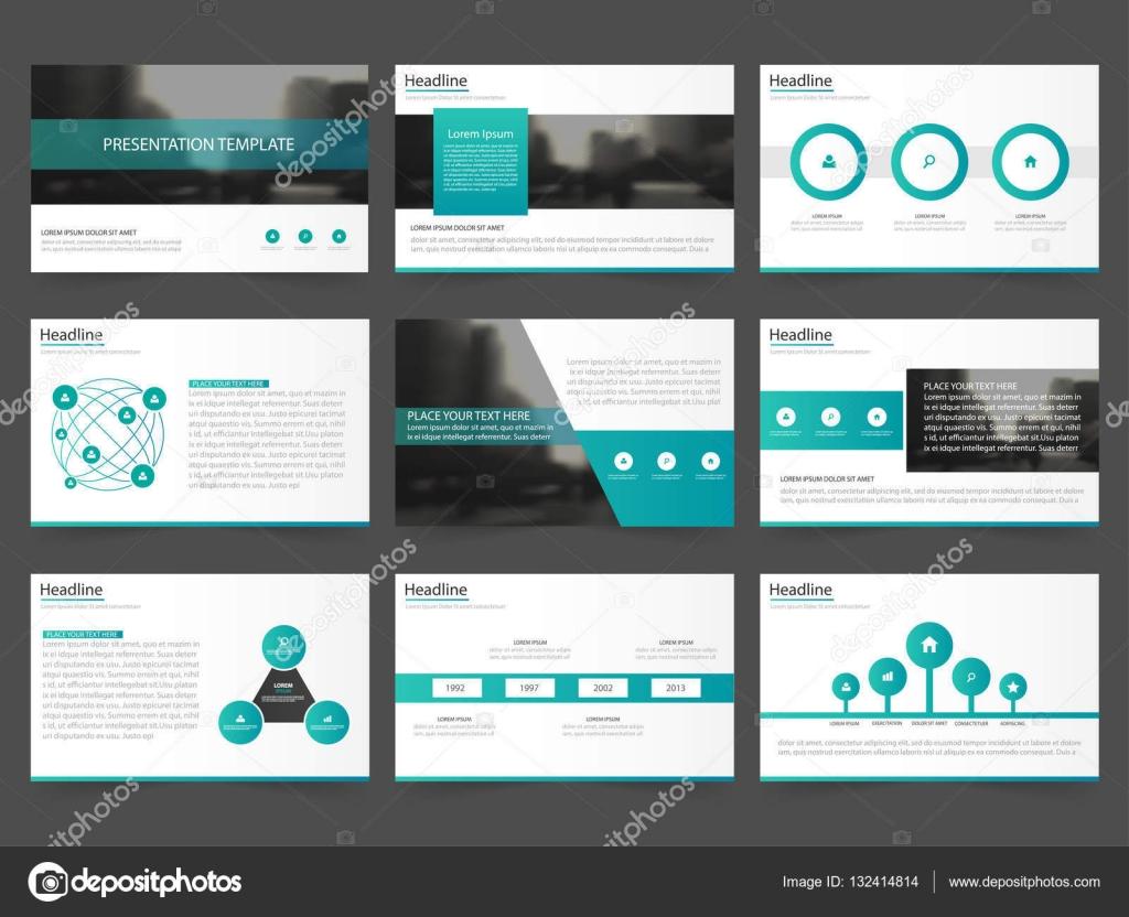 Verde abstracto plantillas de presentación, diseño de planos de ...