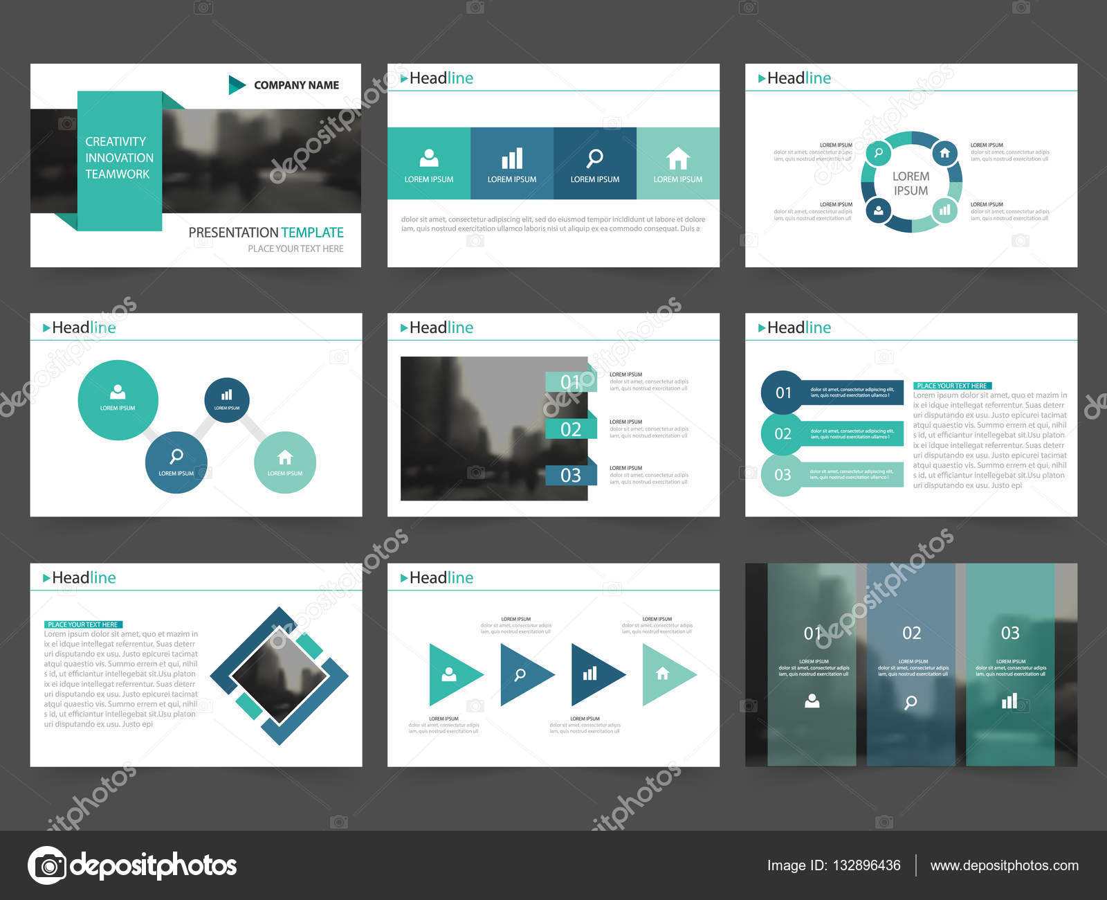 purple green presentation templates Infographic elements flat design ...