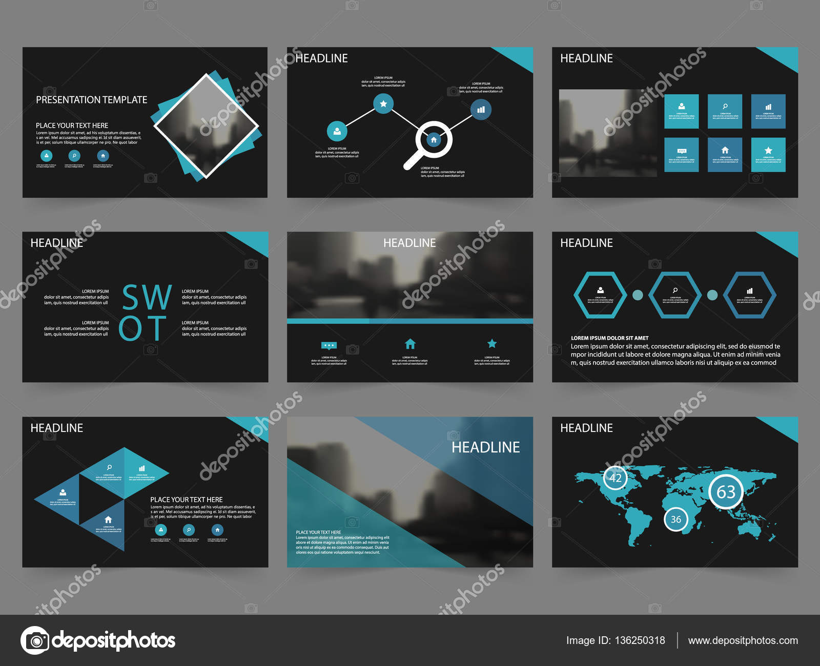 Blue black Abstract presentation templates, Infographic elements ...