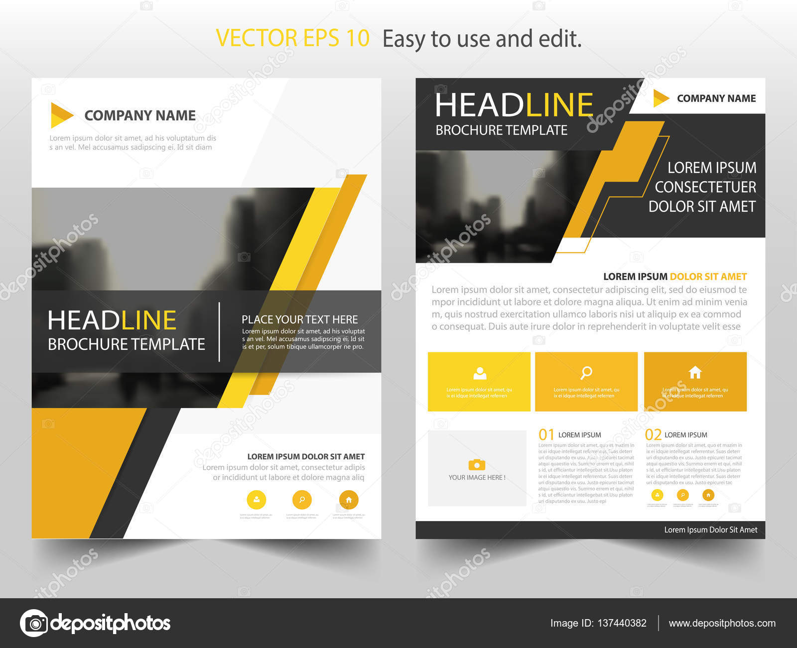 yellow black abstract brochure annual report flyer design template vector leaflet cover presentation abstract flat