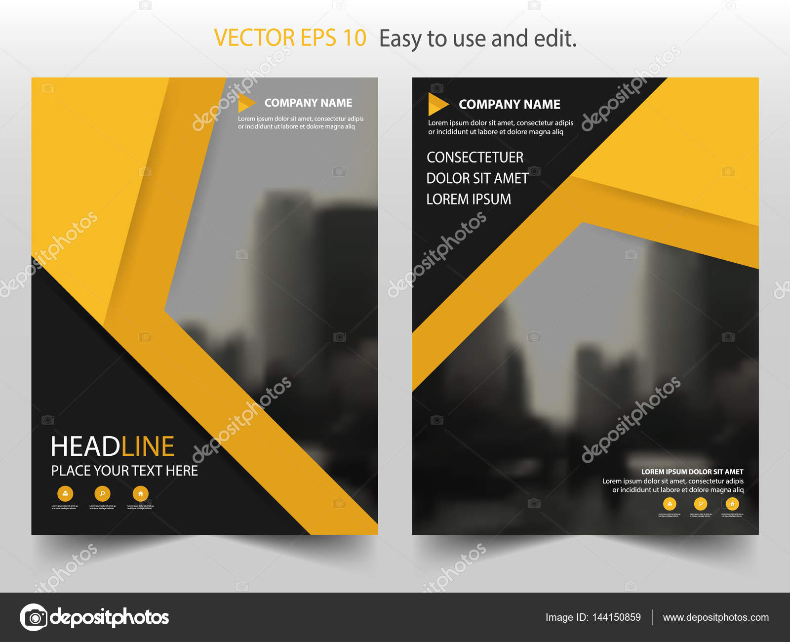 yellow black triangle vector brochure annual report leaflet flyer template design book cover layout design