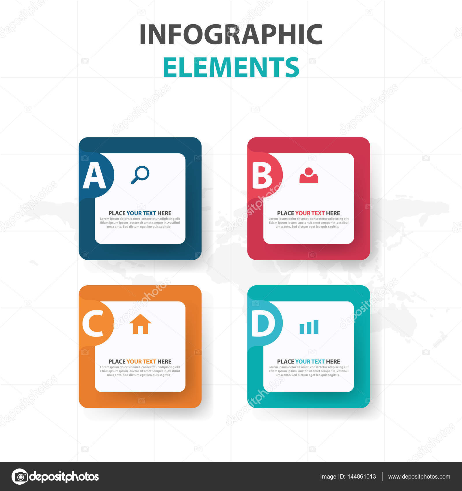 abstract colorful text box business infographics elements