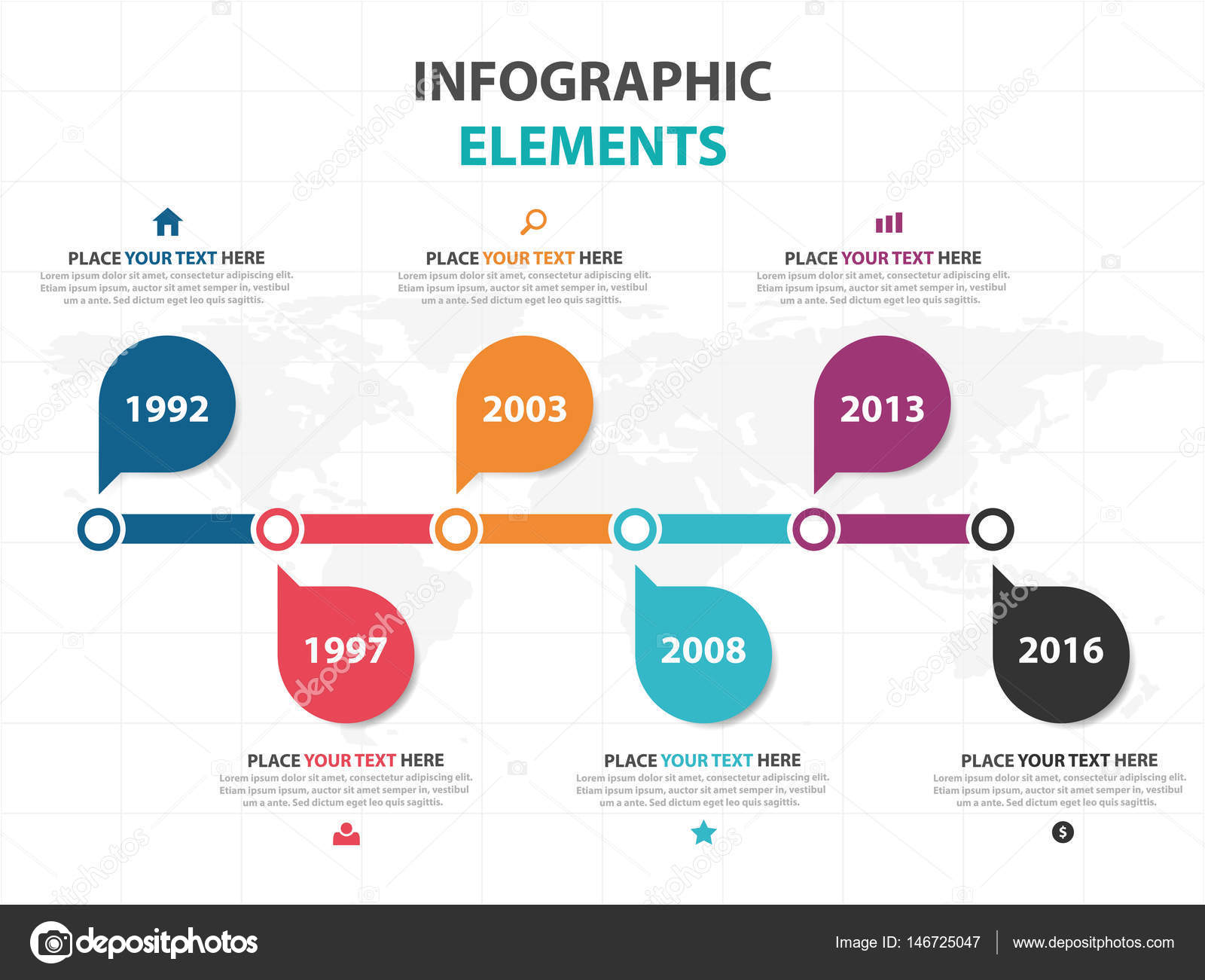 Abstract colorful circle business timeline Infographics elements ...