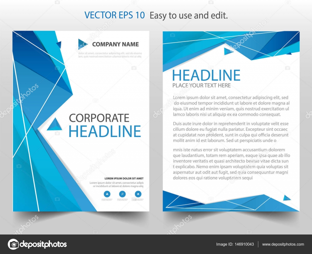 — Size Template Brochure Report Vector Template Annual Polygon © Abstract 146910043 Stock New7ducks Presentation Cover Book Blue Design Business Design Flyer Layout Leaflet A4
