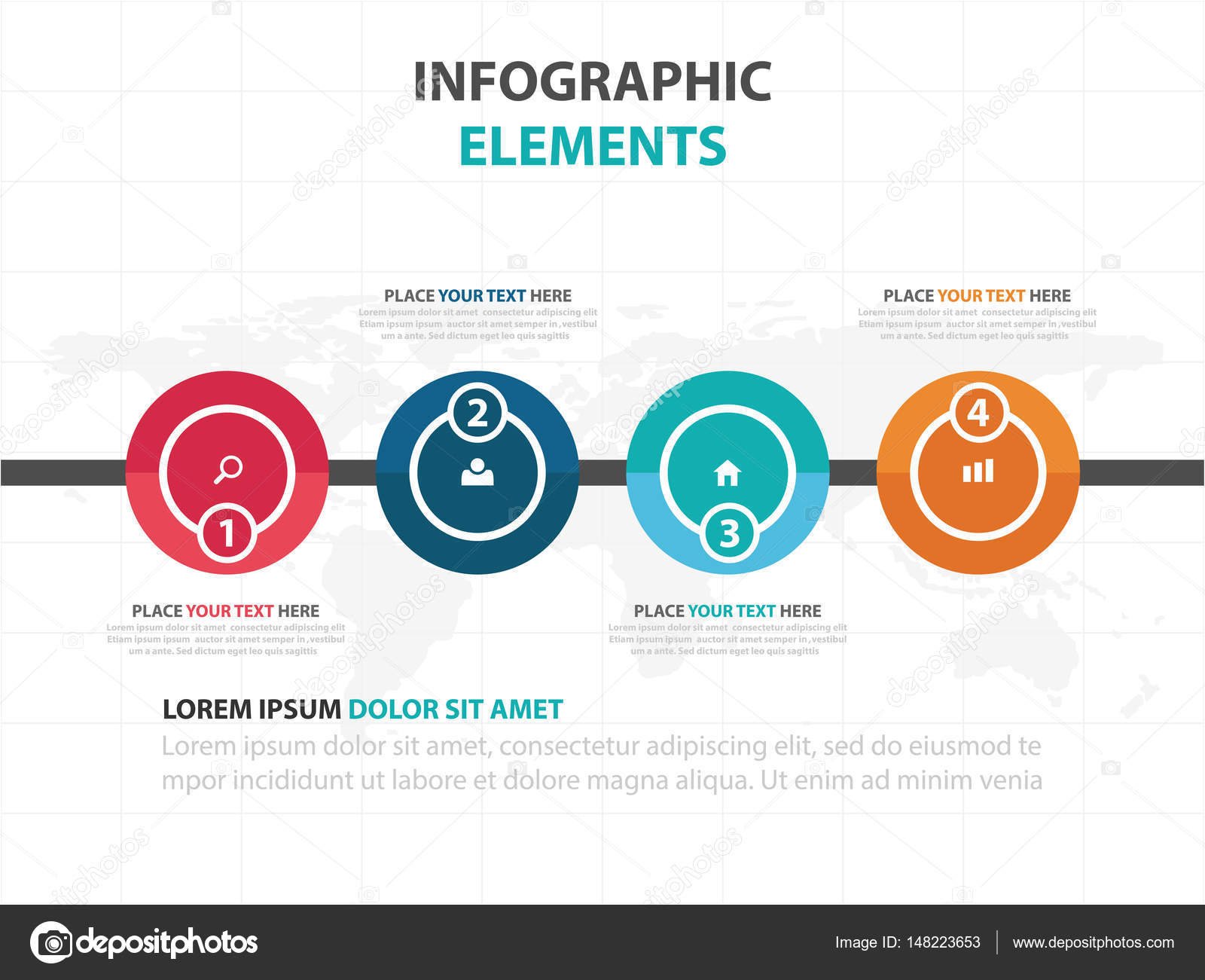 Abstract Colorful Circle Business Timeline Infographics Elements - Timeline website template