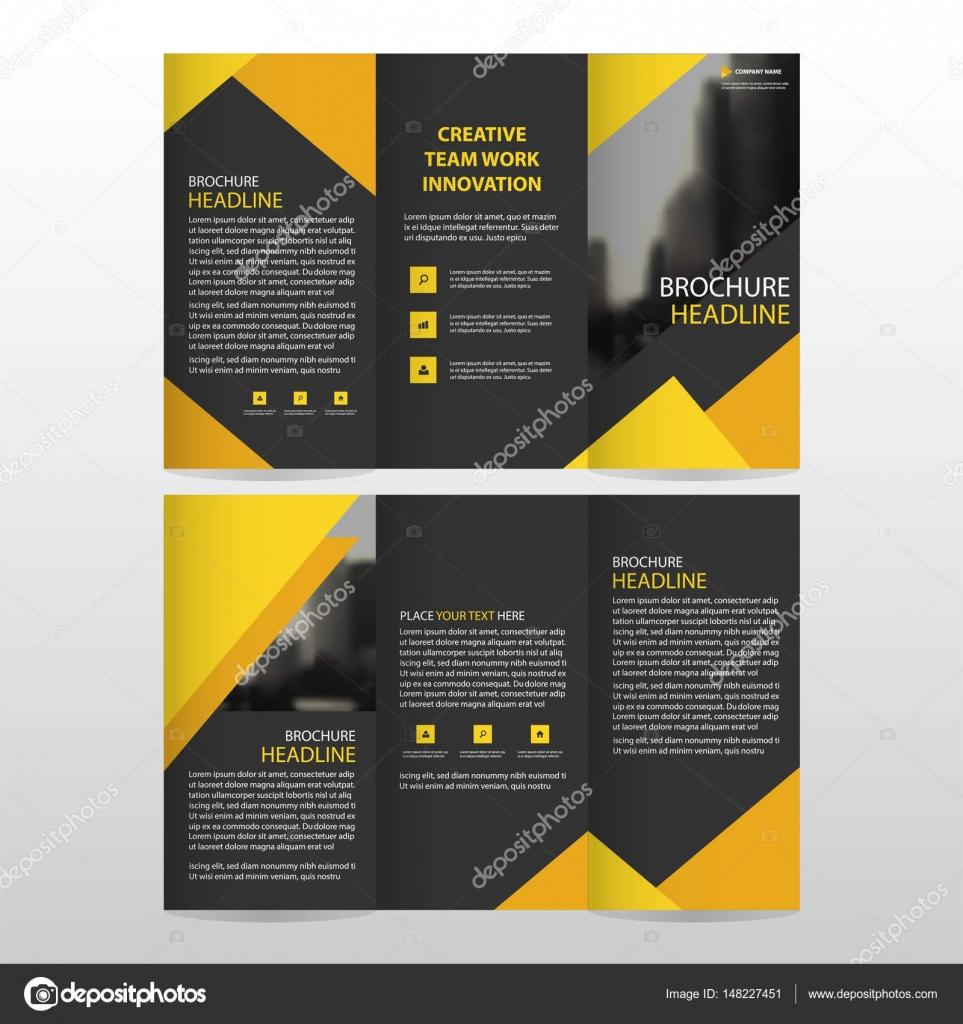 Triángulo negro amarillo negocio triple folleto folleto folleto ...