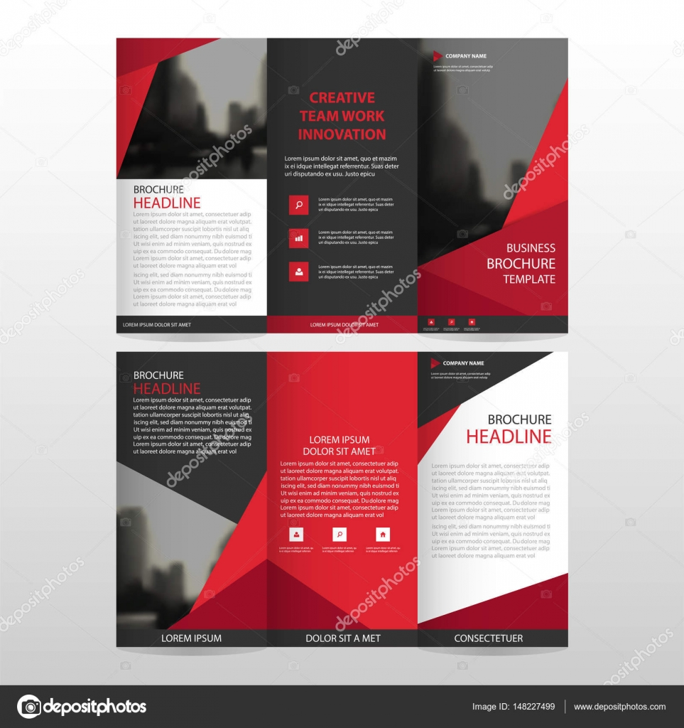 red triangle business trifold leaflet brochure flyer report, Presentation templates