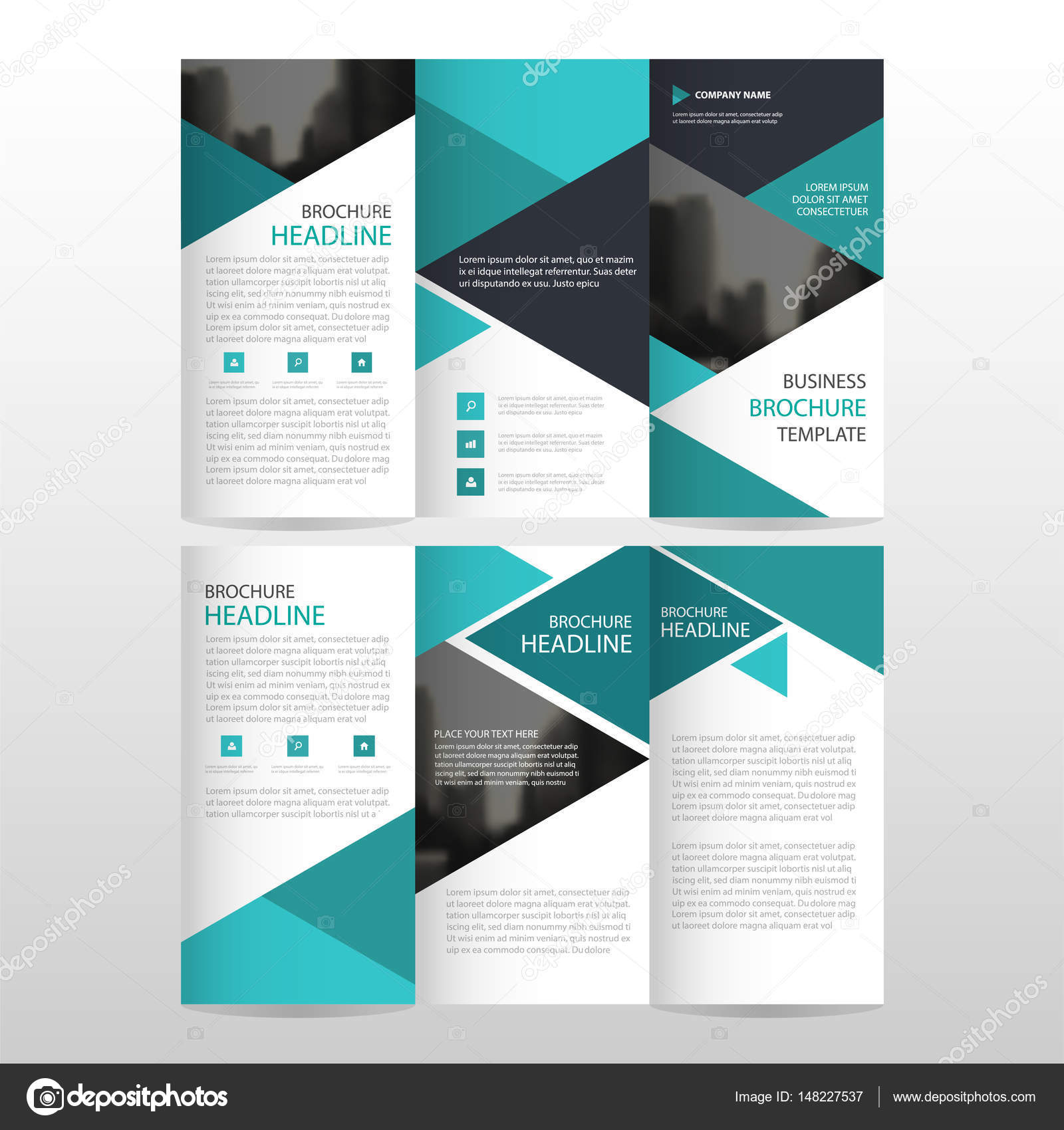 Blue triangle business trifold Leaflet Brochure Flyer report ...