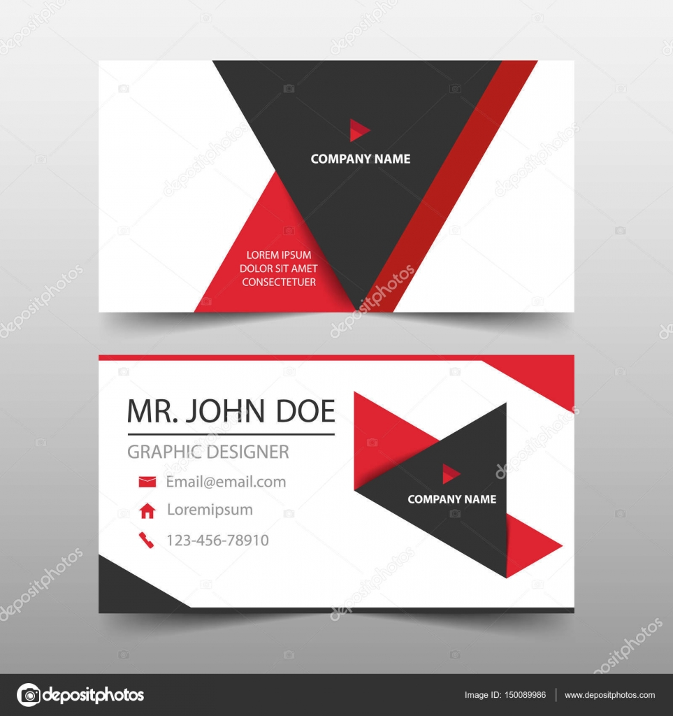 Red Triangle Corporate Business Card Name Card Template Horizontal - Name banner template