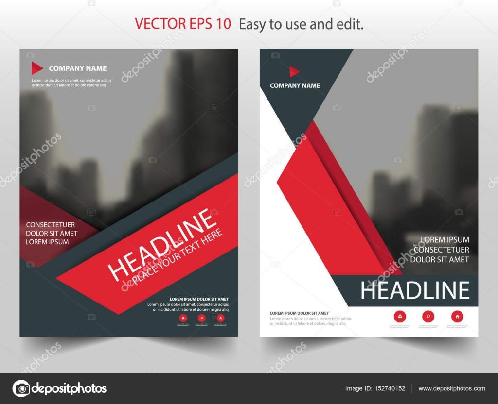 Vector de plantilla del diseño triángulo rojo Resumen de informe ...