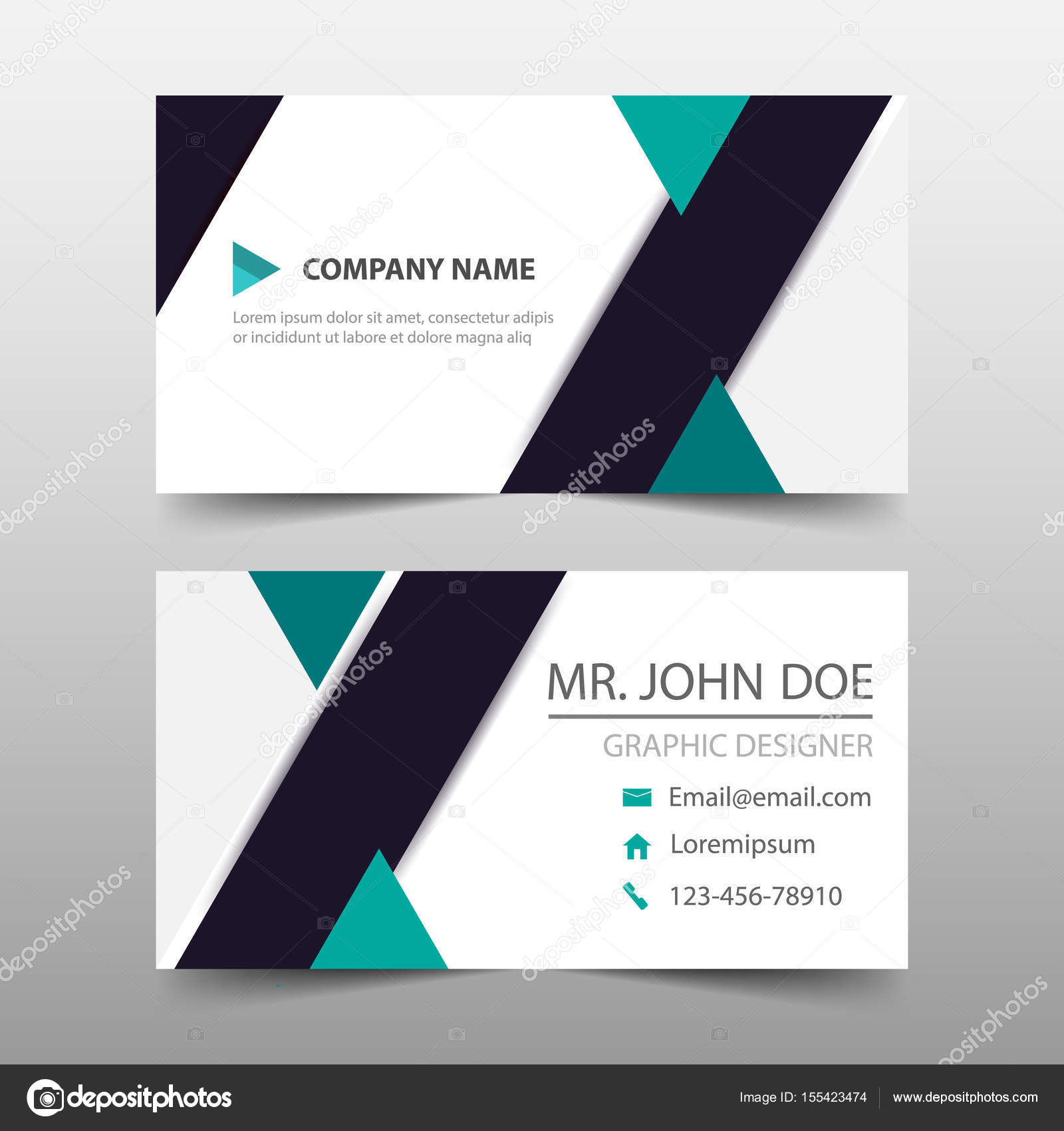 Green triange corporate business card, name card template ...