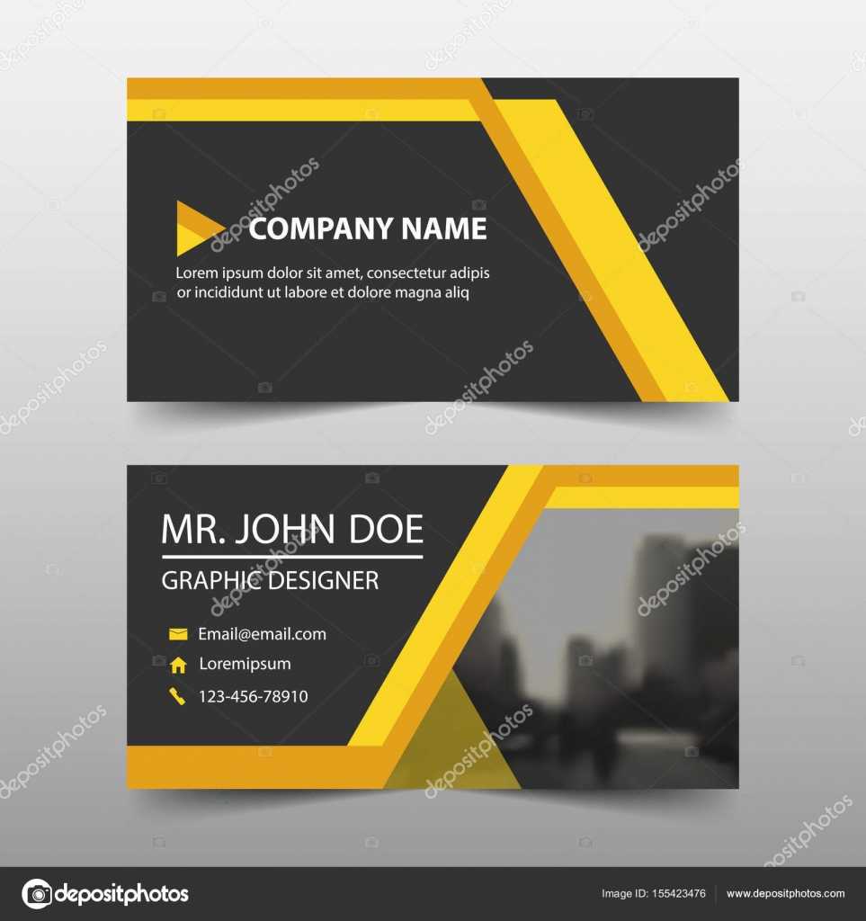 Yellow corporate business card, name card template ,horizontal ...