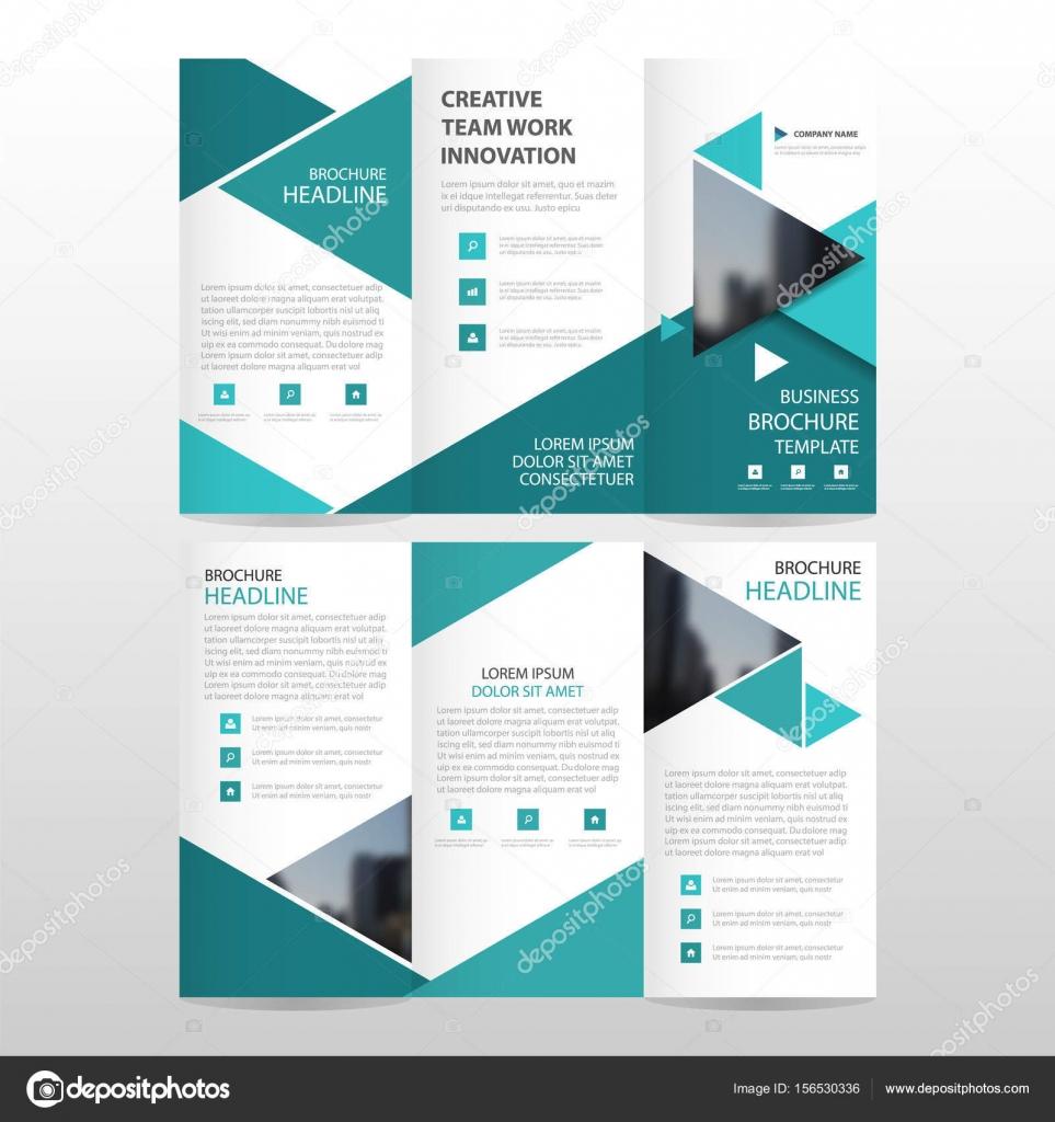Blaues Dreieck Geschäft Trifold Broschüre Broschüre Flyer Bericht ...
