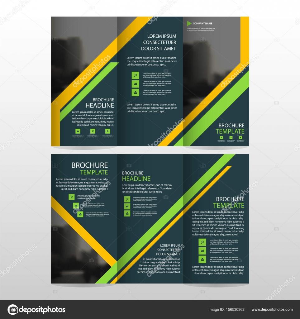 Negocio verde amarillo triple folleto folleto folleto Informe ...