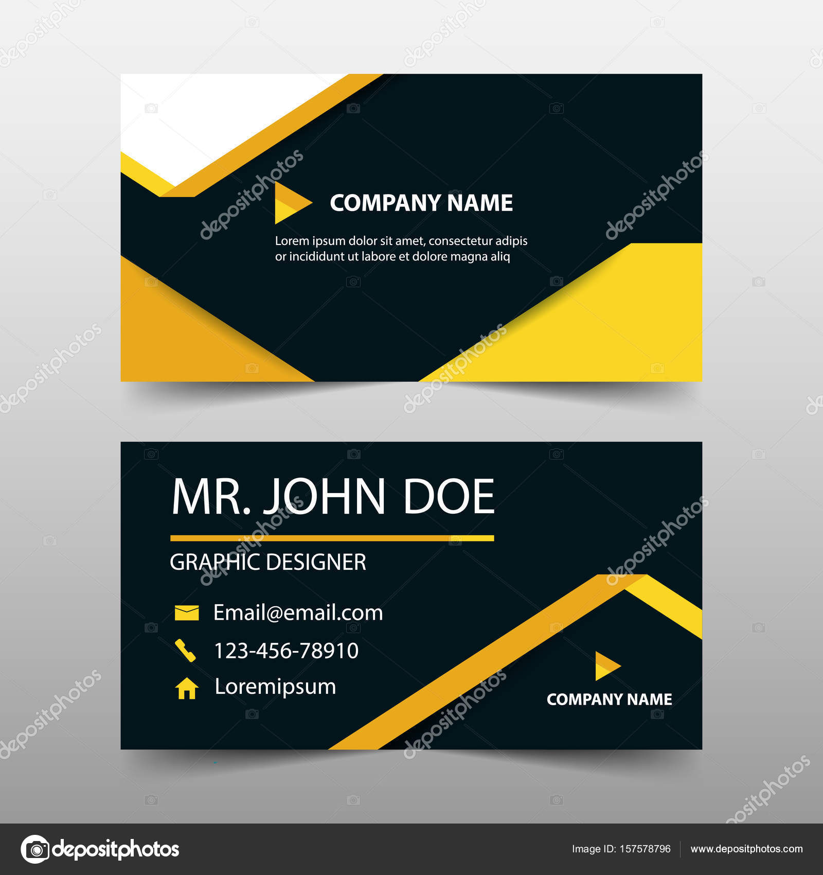Yellow label corporate business card, name card template ,horizontal ...