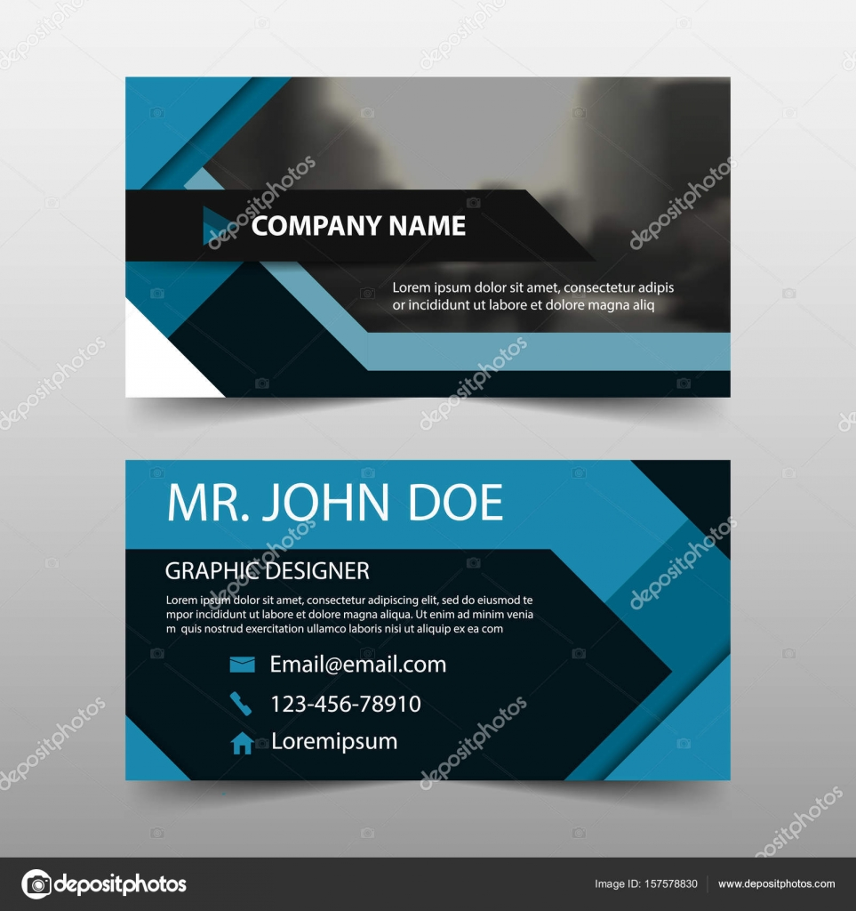 Blue square corporate business card, name card template ,horizontal ...