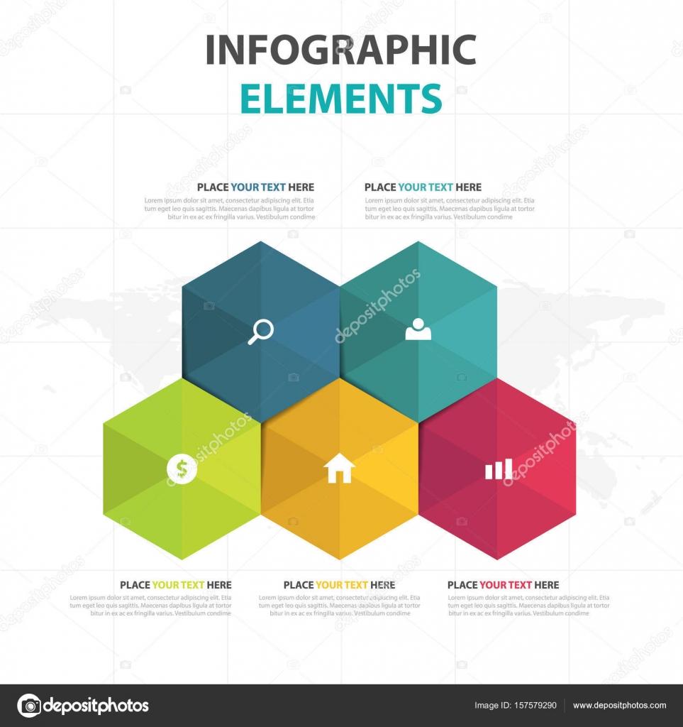 Colorido hexágono negocios infografía elementos abstractos ...