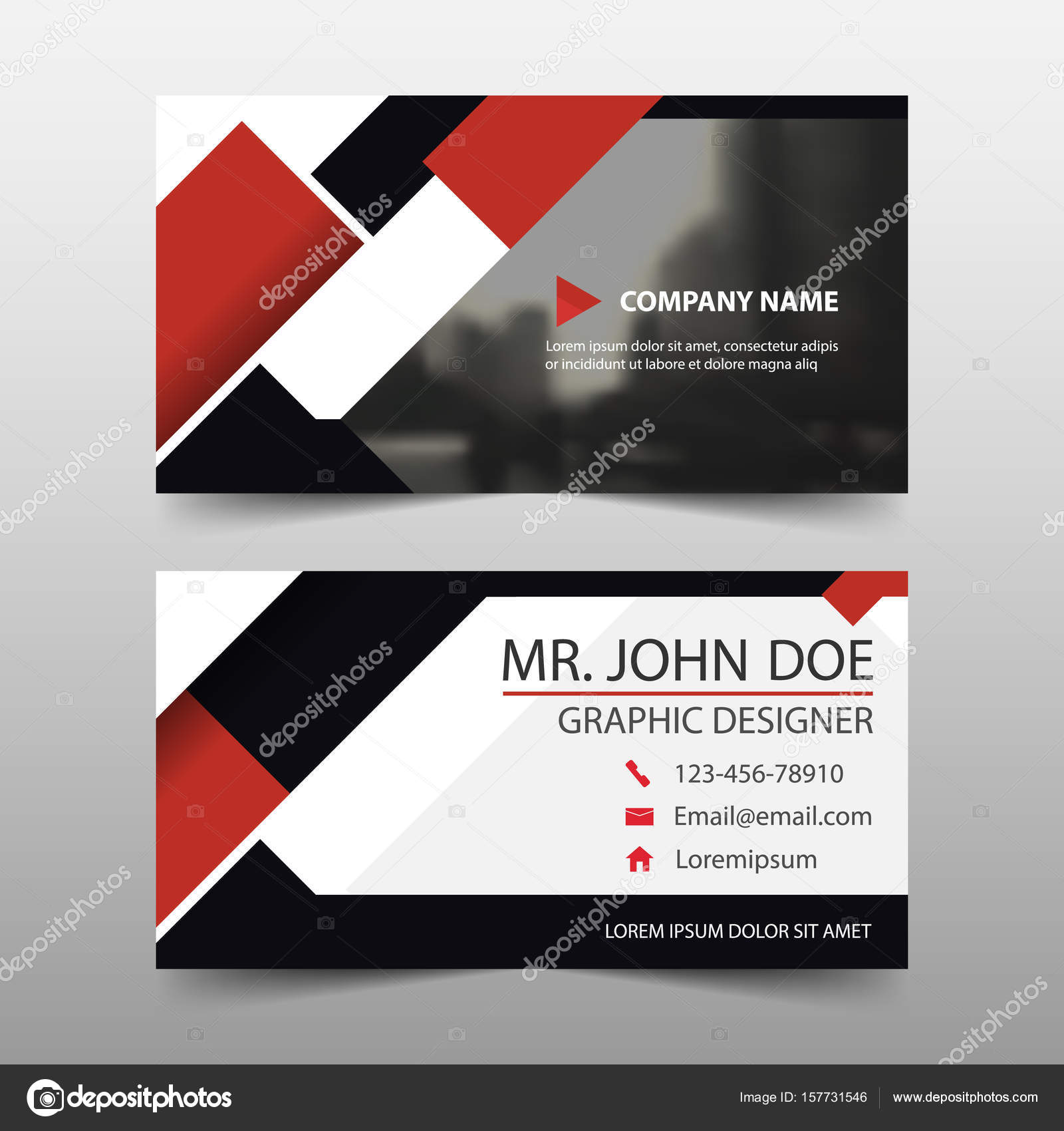 Red square corporate business card name card template horizontal red square corporate business card name card template horizontal simple clean layout design template colourmoves